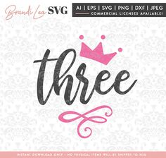 3 year old, third birthday svg, 3 year, birthday, crown, party, svg, dxf, eps, Quote SVG, Cut File, Cricut, Silhouette, Instant download