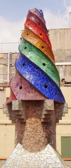 One of Palau Guell's stunning chimneys, Antoni Gaudi. Barcelona, Spain. 1886-8
