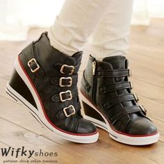 0c6c5469017 Belted Contrast-Trim Wedge Sneakers from  YesStyle  3 Wifky YesStyle.com