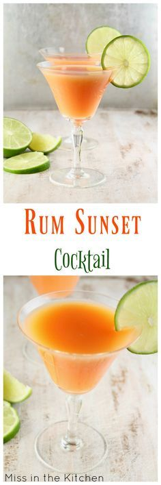 Rum Sunset Cocktail ~ Easy Large Batch Cocktail for Parties ~ MissintheKitchen.com