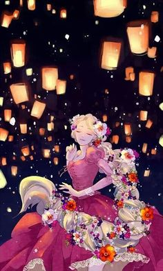These lanterns were taken from another culture and then used in this German fairytale that is an adaptation of the fairy tale Persinette. These lanterns in Disney's version of Rapunzel (Tangled) signify her dreams coming true and her now having the joy of searching for a new dream.