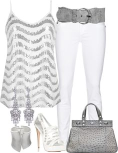"""White and Silver"" by stephiebees on Polyvore- perfect for New Year Parties!"