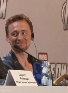 Best Hiddles gif.  For the whole thing (flirting between him and Hemsworth), - http://bluebelle22.tumblr.com/post/59425274225/i-cant-even-with-these-two