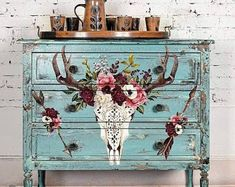 Furniture decals by ReDesign with Prima are really easy to use and exceptionally detailed and gorgeous. They are simply a decal for furniture. Funky Painted Furniture, Decoupage Furniture, Painted Chairs, Distressed Furniture, Repurposed Furniture, Painted Tables, Shabby Chic Interiors, Shabby Chic Furniture, Rustic Furniture