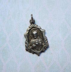 Vintage Sterling Repousse Scapular Medal with by MiladyLinden