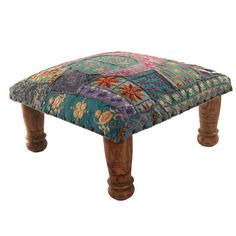 Footstool Turquoise Patchwork | Footstools at Myakka.co.uk