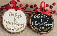 Babys First Christmas Ornament - Perfect Baby Names - Ideas of Perfect Baby Names - Hand painted and hand lettered tree slice ornament. Perfect keepsake gift for the new addition in your family! Baby's 1st Christmas Ornament, Babys 1st Christmas, Christmas Wood, Diy Christmas Ornaments, Homemade Christmas, Winter Christmas, Christmas Time, Christmas Gifts For Baby, Baby's First Ornament