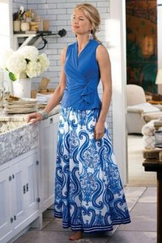 Blues and white long skirt, one of my favorites -crinkled cotton voile, with contrast stripes