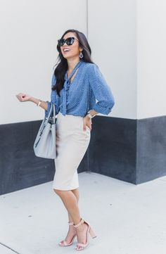 COLOR & CHIC | Work wear with blue polka dots and suede