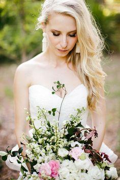 SHANNON + DAVID // #wedding #bride #bridal #dress #gown #lace #strapless #peplum…