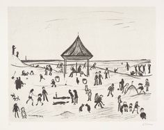 The Pavilion, LS Lowry (medium lithograph on paper). Groves Street, Salford, English Artists, Mark Making, Illustrations And Posters, Pavilion, Mosaic, Old Things, Sketches