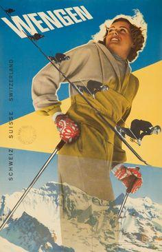Wengen ~ Werner Muhlemann & E. Bocchetti   #Skiing #Wengen #Wintersports #Muhlemann #Bocchetti