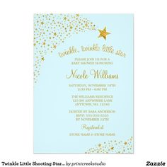 Twinkle Little Shooting Star Gold Blue Baby Shower Card