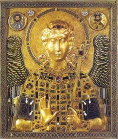 Icon Panel of  Archangel Michael, looted from Constantinople in 1204, now in the Treasury of St. Mark's, Venice. It's 17 inches tall and 14 inches wide, & made of silver-gilt, enamel, precious stones, pearls and glass & is dated to the late 10th or early 11th centuries.  The use of such images has been debated, they could have been placed in a chapel iconostasis or carried in processions. Such an icon would be appropriate in a funeral chapel or a shrine to the Archangel himself.