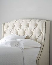 """Bernhardt """"Rami Wing"""" Tufted Headboard We love how the wings on this headboard seem to invite you to snuggle in for a bit of rest. Button tufting and nailhead trim add definition to its clean lines. Handcrafted. Polyester upholstery on hardwood frame. Select color when ordering. Finished back. Drilled for metal bed frame. Twin, 51.5""""W x 13.875""""D x 54.25""""T. Boxed weight, approximately 95 lbs. by Horchow"""