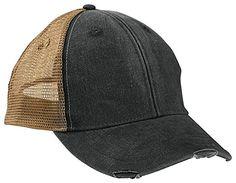 9d4aa514331 Amazon.com  Adams mens 6-Panel Pigment-Dyed Distressed Trucker Cap(OL102)- BLACK  TAN-OS  Clothing