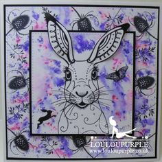Mixed media Card and Embroidery, Using Pink Ink Hare Stamp. Mixed Media Cards, Penny Black Stamps, Lavinia Stamps, Design Cards, Ink Stamps, Card Making Techniques, Animal Cards, Die Cutting, Rabbits