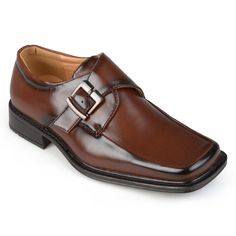 Create a dapper style with these square-toe dress shoes by Boston Traveler. These handsome dress shoes are constructed of shiny PU- faux leather uppers and are designed with a polished finish and buckle accent.