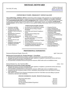 Resume Templates Project Manager  Construction Manager Resume