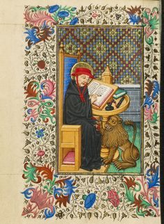 Saint Jerome in His Study; Master of Sir John Fastolf (French, active before about 1420 - about 1450); France; about 1430 - 1440; Tempera colors, gold leaf, and ink on parchment; Leaf: 12.1 x 9.2 cm (4 3/4 x 3 5/8 in.); Ms. 5, fol. 227v; J. Paul Getty Museum, Los Angeles, California