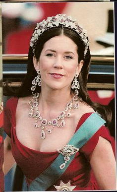 "Crown Princess Mary of Denmark in the ""Ingrid Rubies"" (not seen: the accompanying bracelet & ring)"