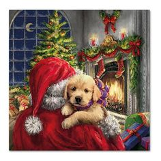 Heartwarming Christmas scene of Santa delivering a puppy. Somebody is going to have the best Christmas day yet! Printed on luxury paper napkins. Nice gift for the rabbit lover! Package of 20 Napkins Christmas Puppy, Old Fashioned Christmas, Christmas Scenes, Christmas Past, Christmas Animals, Christmas Greetings, Winter Christmas, Christmas Crafts, Xmas