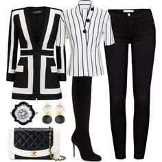 Untitled #1841 by jeanne-lemaire-romero on Polyvore featuring polyvore fashion style Balenciaga Balmain Frame Denim Christian Louboutin Chanel Julie Vos