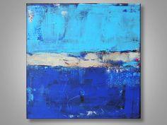 Original Abstract Painting Blue Light Blue Beach by TiedemannArt, $200.00