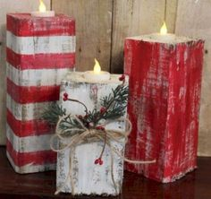 of the Best DIY Christmas Decorations Rustic Wood Christmas Candles.these are the BEST Homemade Holiday Decorations & Craft Ideas! Diy Christmas Decorations, Christmas Wood Crafts, Noel Christmas, Christmas Candles, Outdoor Christmas, Rustic Christmas, Christmas Projects, Winter Christmas, Holiday Crafts