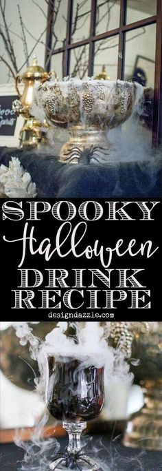 Delicious punch recipe with dry ice for a spooky Halloween Drink station. Easy and nonalcoholic drink for a party! Find the full recipe here! Glace Carbonique Halloween, Punch Halloween, Dry Ice Halloween, Cocktails Halloween, Halloween Bebes, Halloween Food For Party, Spooky Halloween, Halloween Treats, Halloween Dinner