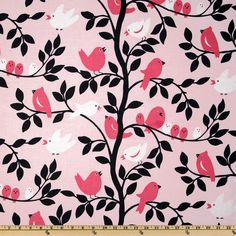 Michael Miller It's A Girl Thing Tweetie Pie Pink - Discount Designer Fabric - Fabric.com