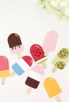 These Super Sweet Paper Punch Popsicles look good enough to eat! DIY scrapbooking embellishments are expensive and unoriginal, so get creative with these paper punch craft ideas and make a summery treat with your own unique designs. Paper Punch Art, Punch Art Cards, Arts And Crafts, Paper Crafts, Diy Crafts, Diy Paper, Baby Dekor, Craft Punches, Candy Cards
