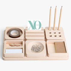 Maple Wood Desk Organiser #worthynzhomeware wwworthy.co.nz