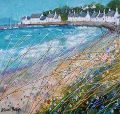 Sunny Portmahomack by Deborah Phillips,Contemporary Scottish Artist Pastel Landscape, Landscape Art, Landscape Paintings, Seascape Paintings, Beach Paintings, Pretty Pictures, Sea Pictures, Art Uk, Naive Art