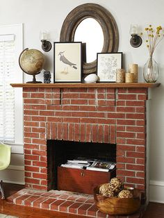 Fireplace Decor  Simple Storage Spot Style: Craftsmen Against plain walls, this red brick fireplace has a rustic and warm feel that brings instant character to the room. Even though the homeowners might not use the fireplace as a heat source, it still serves a purpose and becomes a niche to store magazines and other reading material. With its clean lines and simple look, the fireplace can be decorated with several accessories without looking too cramped and cluttered.