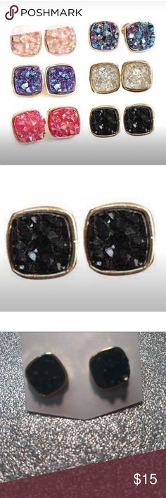 Black Square Druzy Post Earrings Square Druzy style earrings in black. These are beautiful, I had a hard time getting the black to show up good in my photo.  12mm on gold plating  Listing is for one pair   Purchase by noon EST for same day shipping.  Bundle items and save, just click the three dots in the right hand corner.  Thanks for visiting my closet💕 Jewelry Earrings