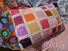 Solid Granny Square Pillow..of 48 squares and join as you go