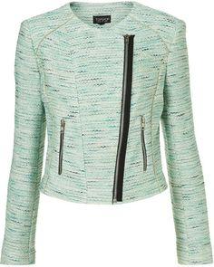 Topshop Blue Coord Boucle Biker Jacket