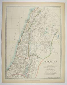 Antique Map Palestine, Holy Land Map 1905 Johnston Palestine Map, Israel Syria Map Lebanon, Middle East Map, Unique Wedding Gift for Couple available from OldMapsandPrints.Etsy.com #Palestine #JohnstonMapofPalestine