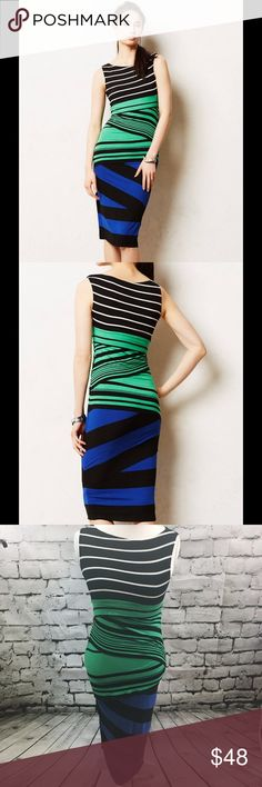 Anthropologie Bailey 44 Piped Stripe Column Dress Striped midi dress from Anthropologie by Bailey 44. Some slight pilling throughout as shown in photo. Description from Anrthrpologies site reads: its no surprise that Bailey 44 is behind our favorite column dress with an eye on comfort, they're obsessed with effortless, figure flattering silhouettes. Slim and chic, this pieced sheath is a desk to dinner staple. Anthropologie Dresses Midi