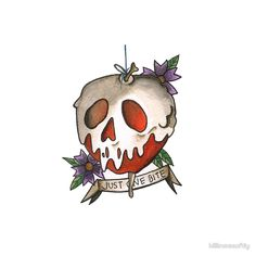 """Just One Bite - Poison Apple Tattoo Flash"""" Throw Pillows by ..."""