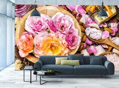 Rose SPA MURAL Photo WALLPAPER WALL ART Pink Flower Blossom Beauty Salon Decor