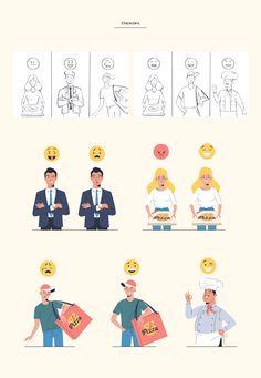 Blockfood on Behance Flat Design Illustration, People Illustration, Illustrations, Character Illustration, Digital Illustration, Graphic Illustration, Design Ios, Vector Design, Motion Design