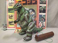 Vintage 1970 Japanese Bullmark GODZILLA Smoking Walking KAIJU Tin Toy Baragon