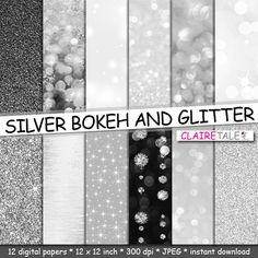 """Buy Silver digital paper: """"SILVER BOKEH & GLITTER"""" with silver glitter background and silver bokeh background for photographers and scrapbooking by clairetale. Explore more products on http://clairetale.etsy.com"""