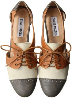 Steve Madden. Love these, if only they were only in two colors, like the part where the laces were were the same color as the tips.