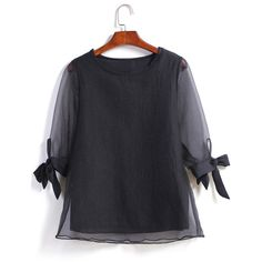 Black Sheer Mesh Bow Loose Blouse featuring polyvore, fashion, clothing, tops, blouses, black, bow collar blouse, sheer long sleeve top, transparent blouse, black blouse and black sheer blouse