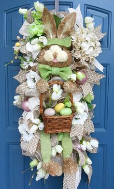 Easter bunny wreath deco mesh swag Vintage by WonderfulWreathsKim Easter Wreaths, Holiday Wreaths, Spring Wreaths, Christmas Swags, Easter Crafts, Easter Decor, Easter Centerpiece, Bunny Crafts, Easter Table