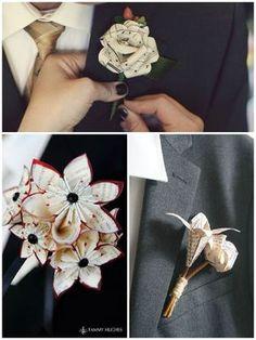 Décoration DIY de tenue du marié : boutonnières de fleurs en origami