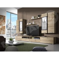 wall unit Sarah media wall, TV lowboard, stylish wall unit (color: San Remo light / anthracite, with RGB lighting) Tv Wall Unit, Home, Wall Decor Living Room Rustic, Rustic Living Room, Budget Friendly Living Room, Wall Unit, Living Room Wall Units, Living Room Designs